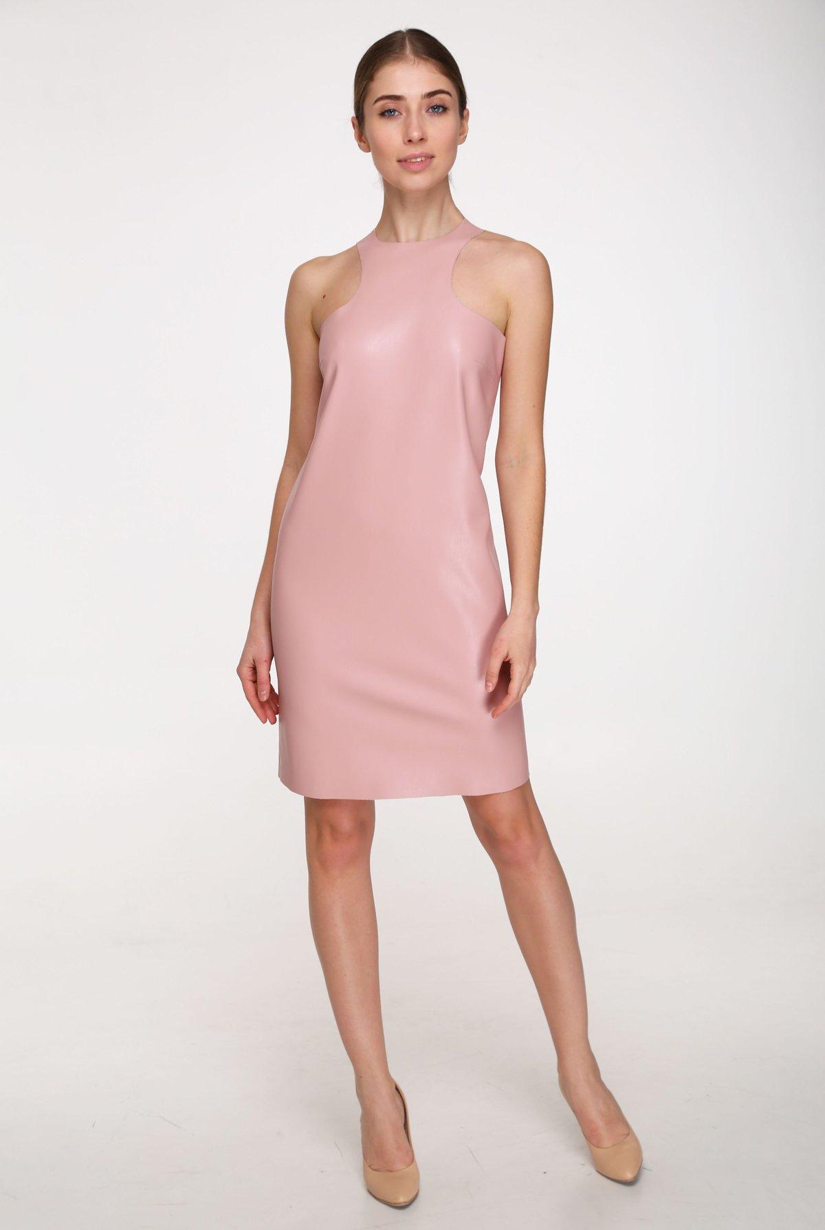 кожаное платье розовое