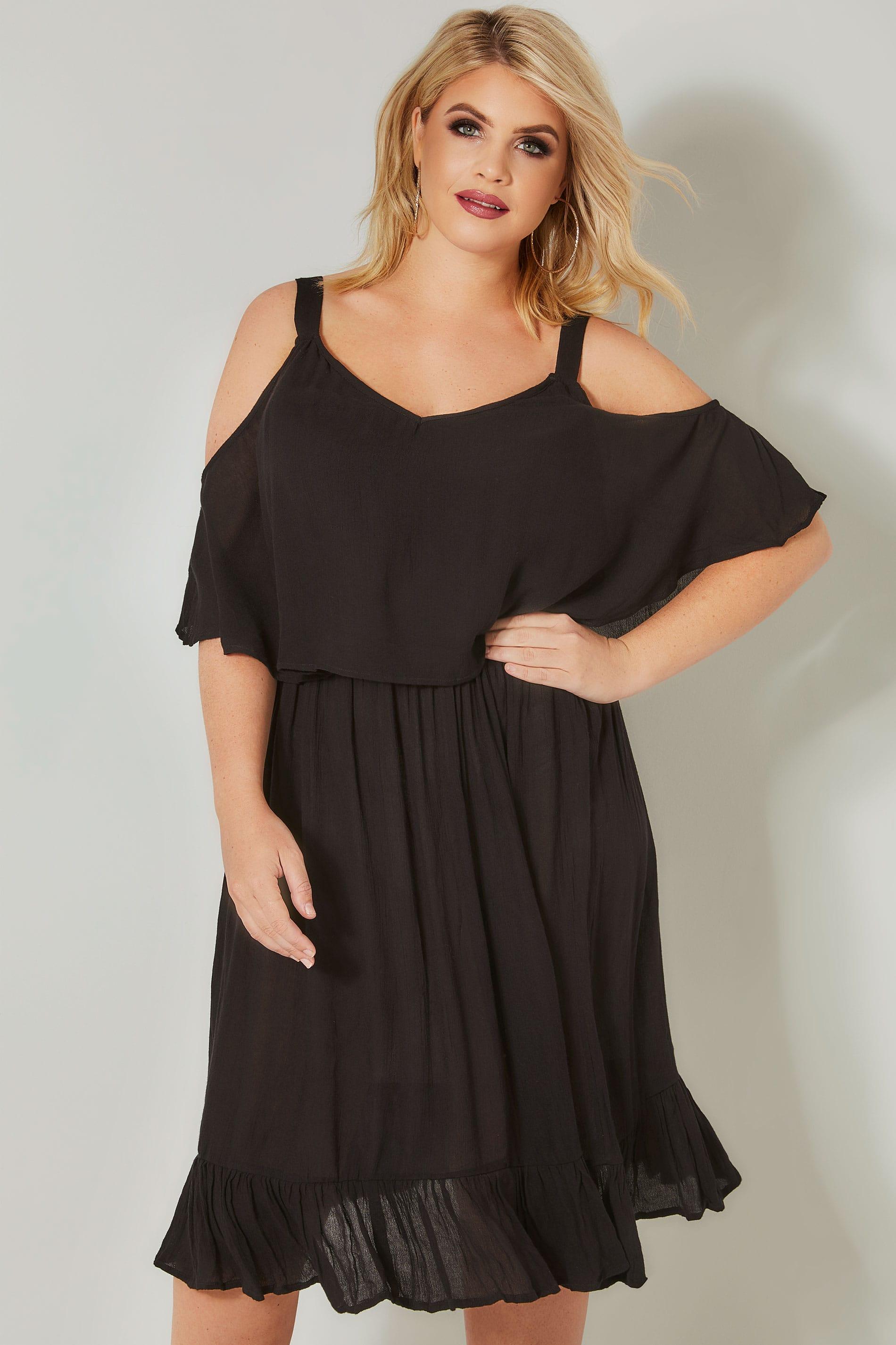 платье с открытыми плечами для полных шифон