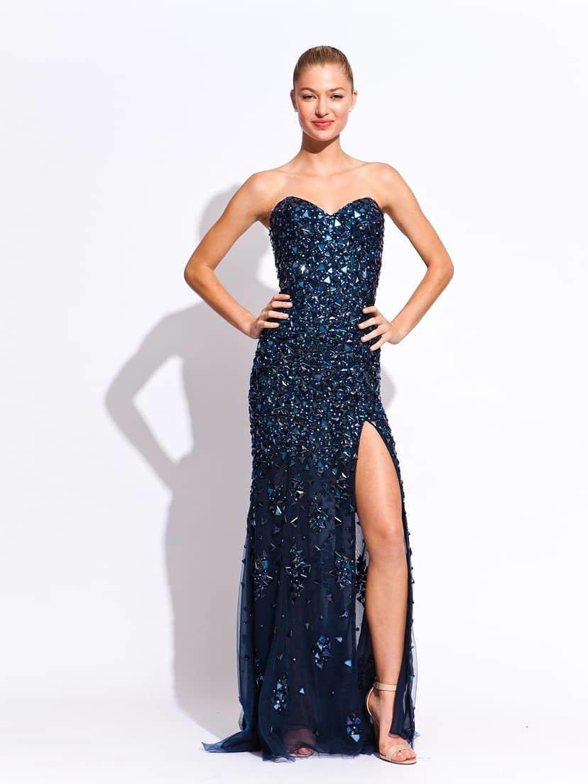 синее платье со стразами фото