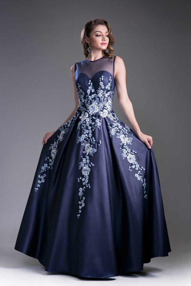 синее платье на выпускной фото