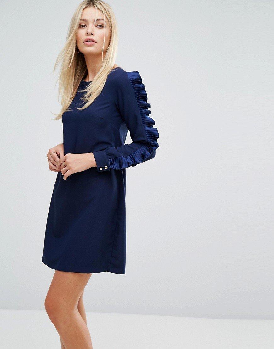 синее платье с длинными рукавами фото
