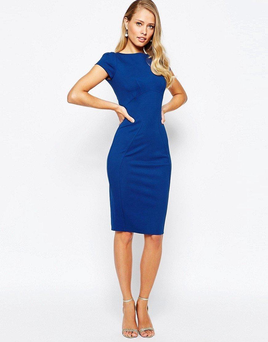 синее платье с короткими рукавами фото