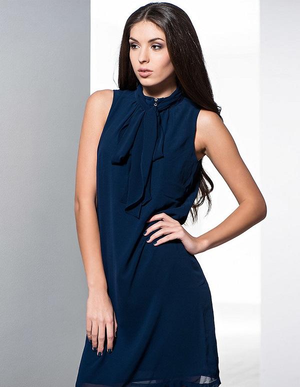 синее платье без рукавов фото