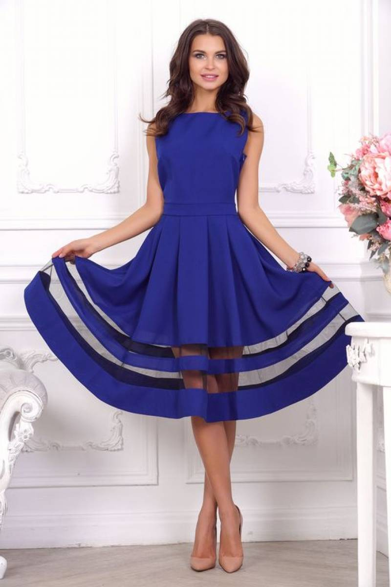 синее платье с пышной юбкой фото