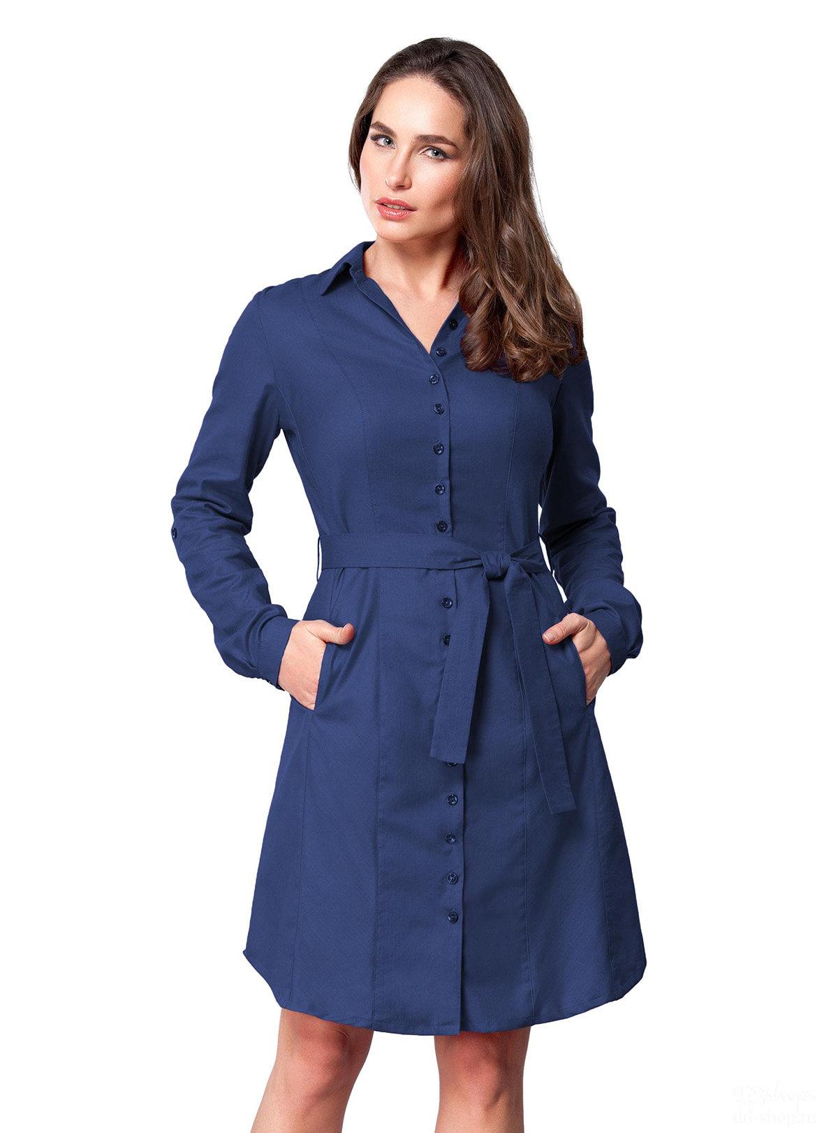 синее платье рубашка фото