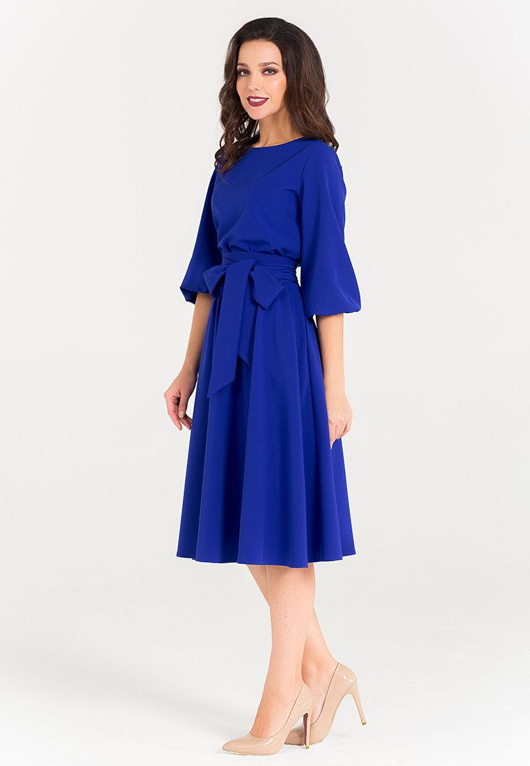 синее платье миди фото