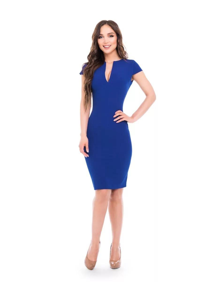 синее платье с v-образным вырезом фото