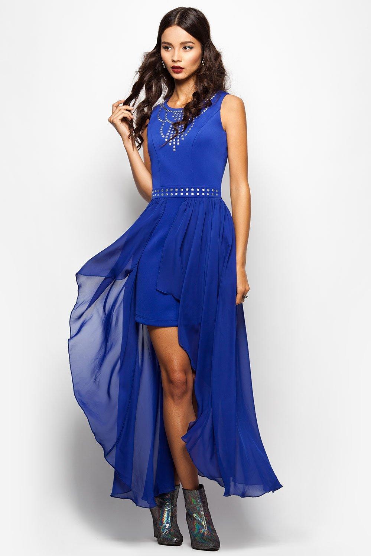 синее платье со шлейфом фото