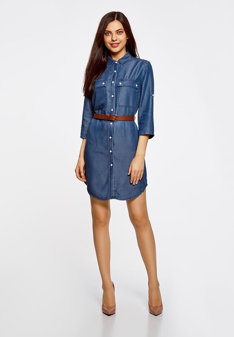 синее платье джинсовое фото