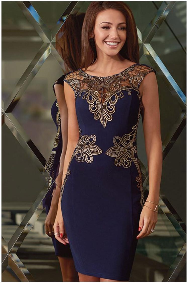 Синее платье с золотым кружевом фото