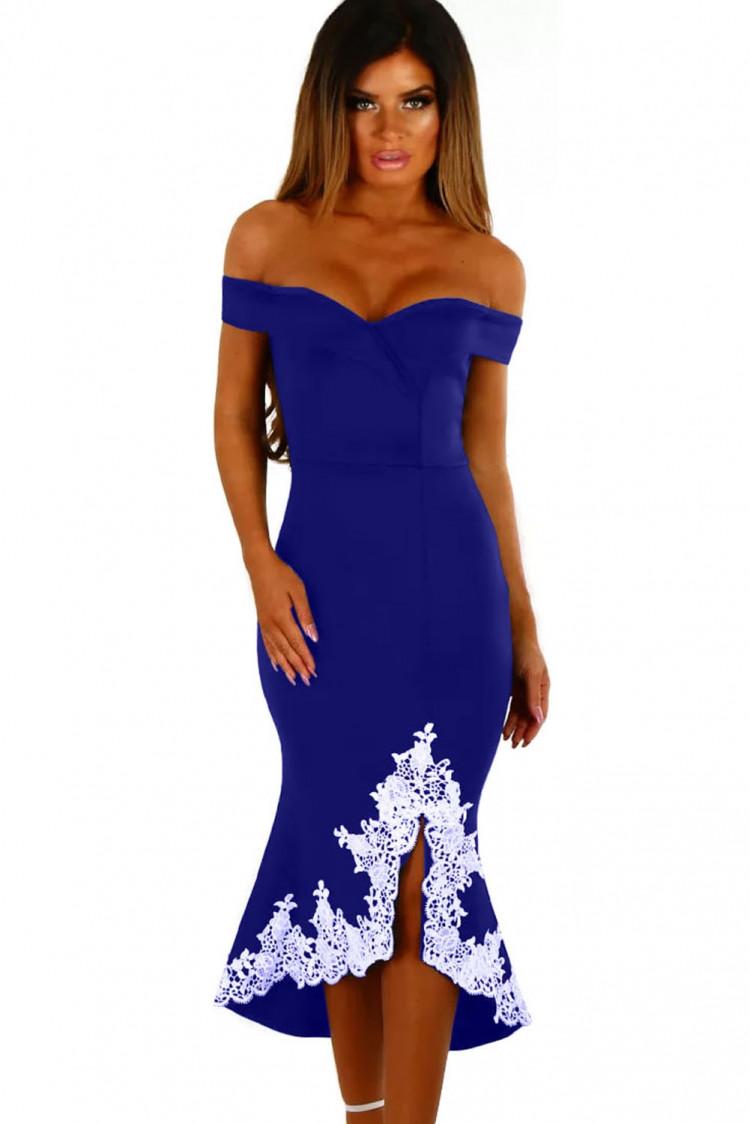 Синее платье с белым кружевом фото