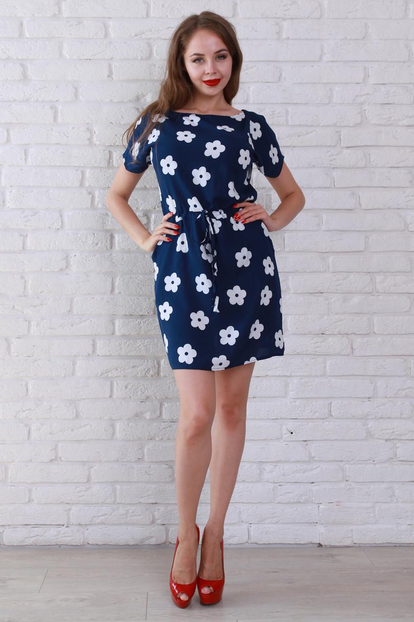 Синее платье в белый цветочек фото