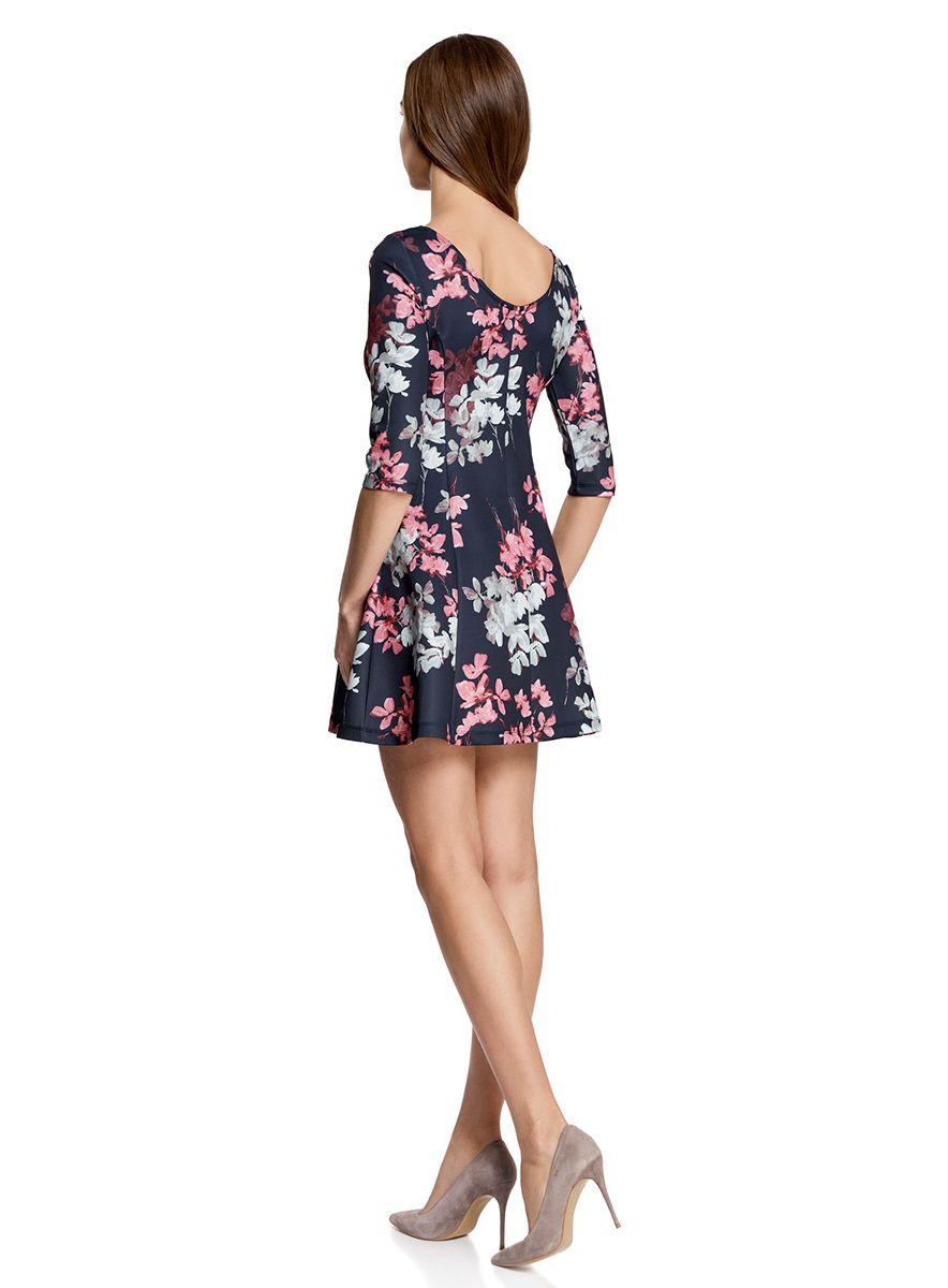 Синее платье с розовыми цветами фото