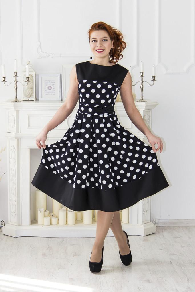 нарядное платье в горошек фото