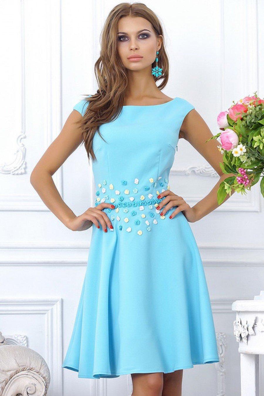 нарядное платье голубое фото