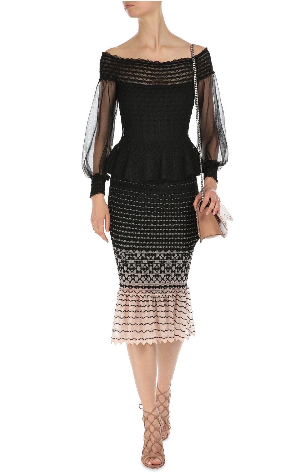 Вязаное платье с юбкой годе фото