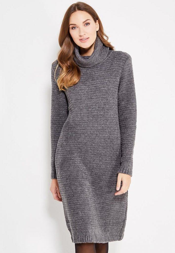 вязаное платье из шерсти на зиму фото