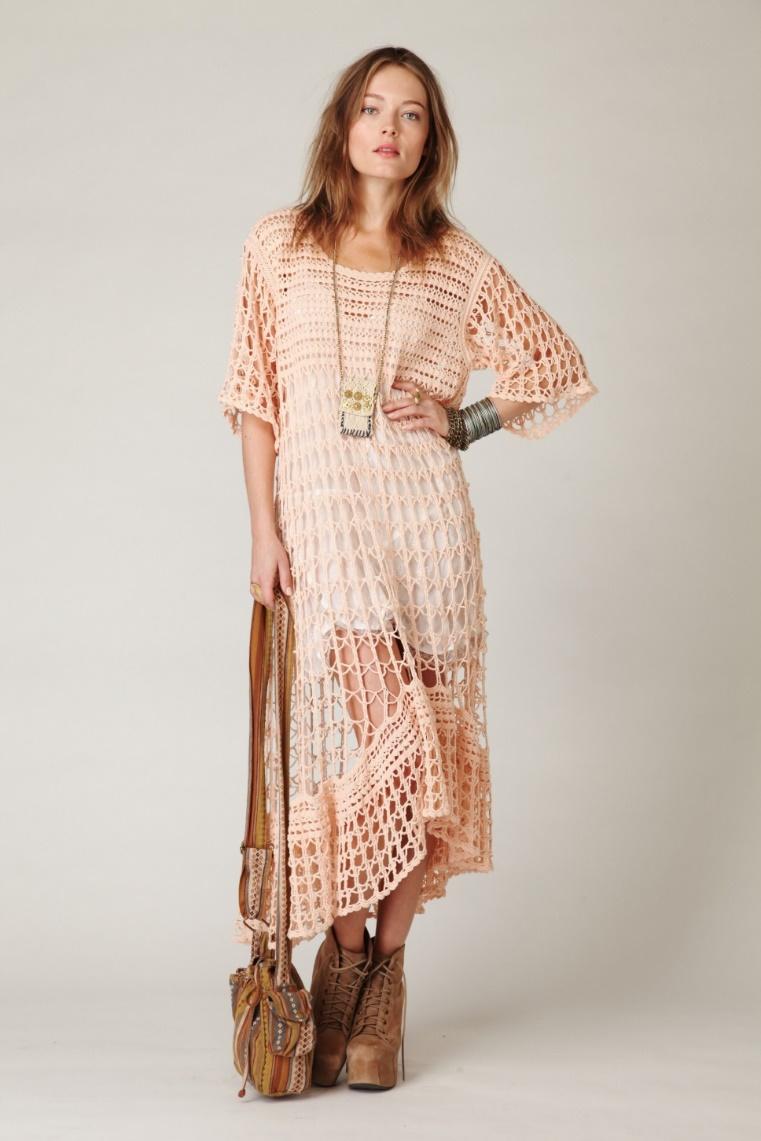 вязаное платье в стиле бохо фото