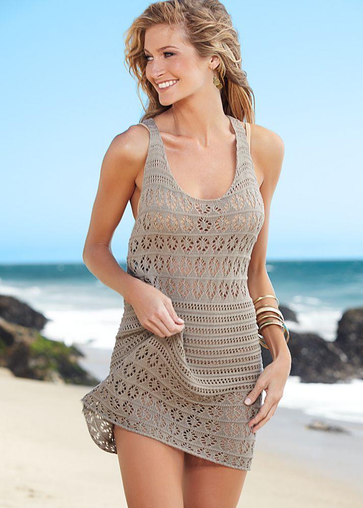 вязаное платье пляжное фото