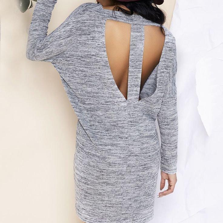 вязаное платье с открытой спиной фото