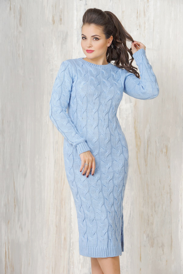 вязаное платье косами фото