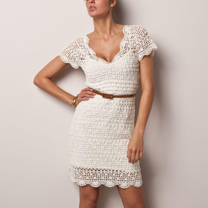 вязаное платье филейное вязание фото