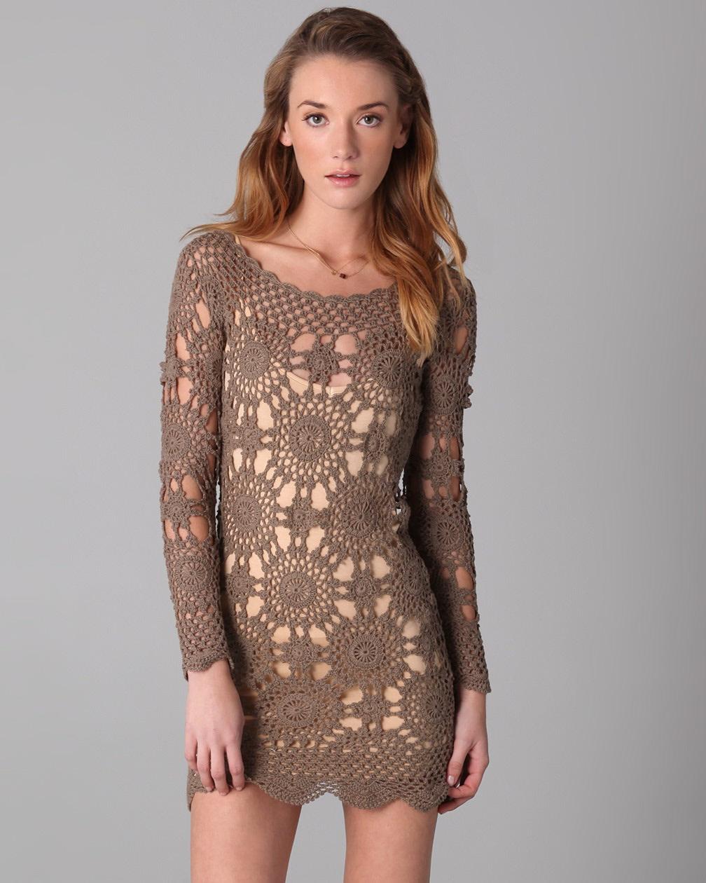 вязаное платье мотивами фото