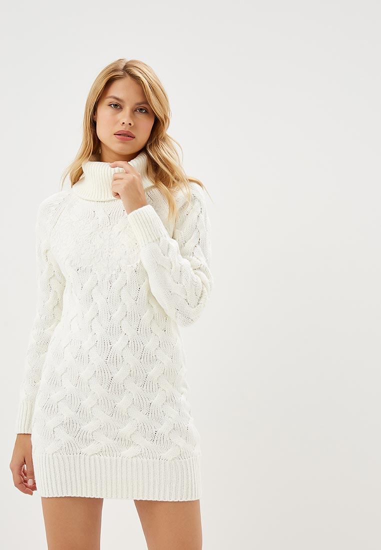 вязаное платье белое фото