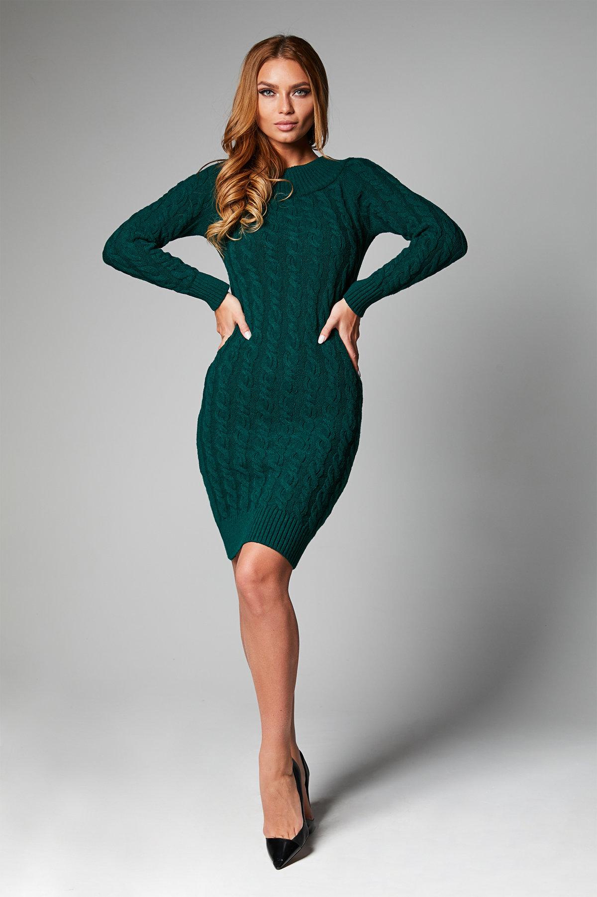 вязаное платье зеленое фото