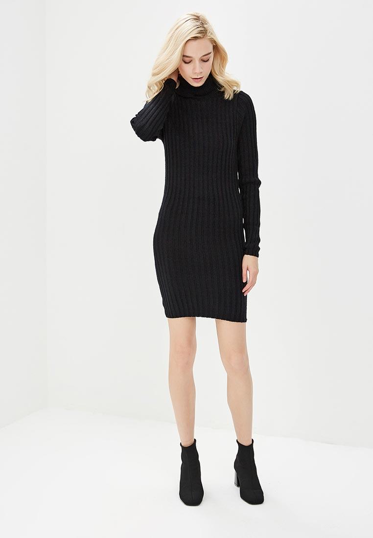 вязаное платье черное фото