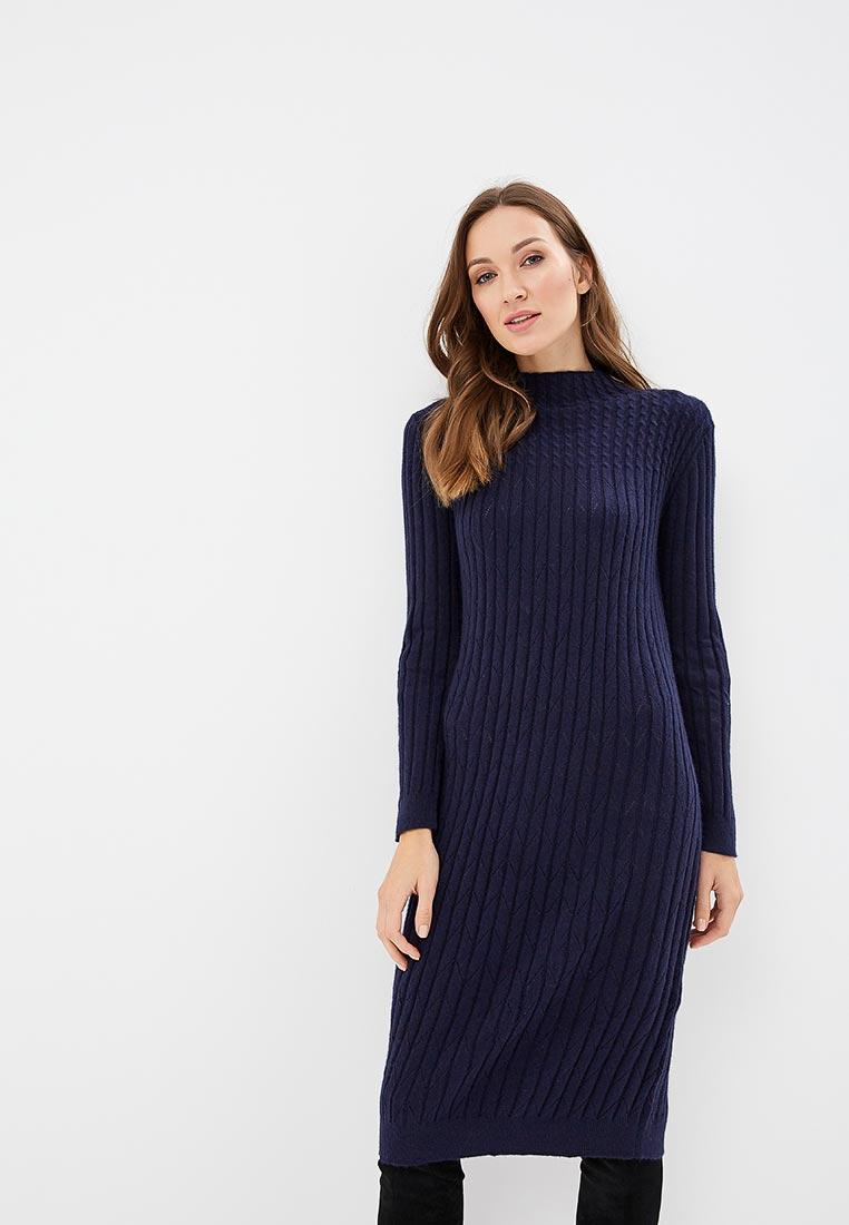 вязаное платье синее фото