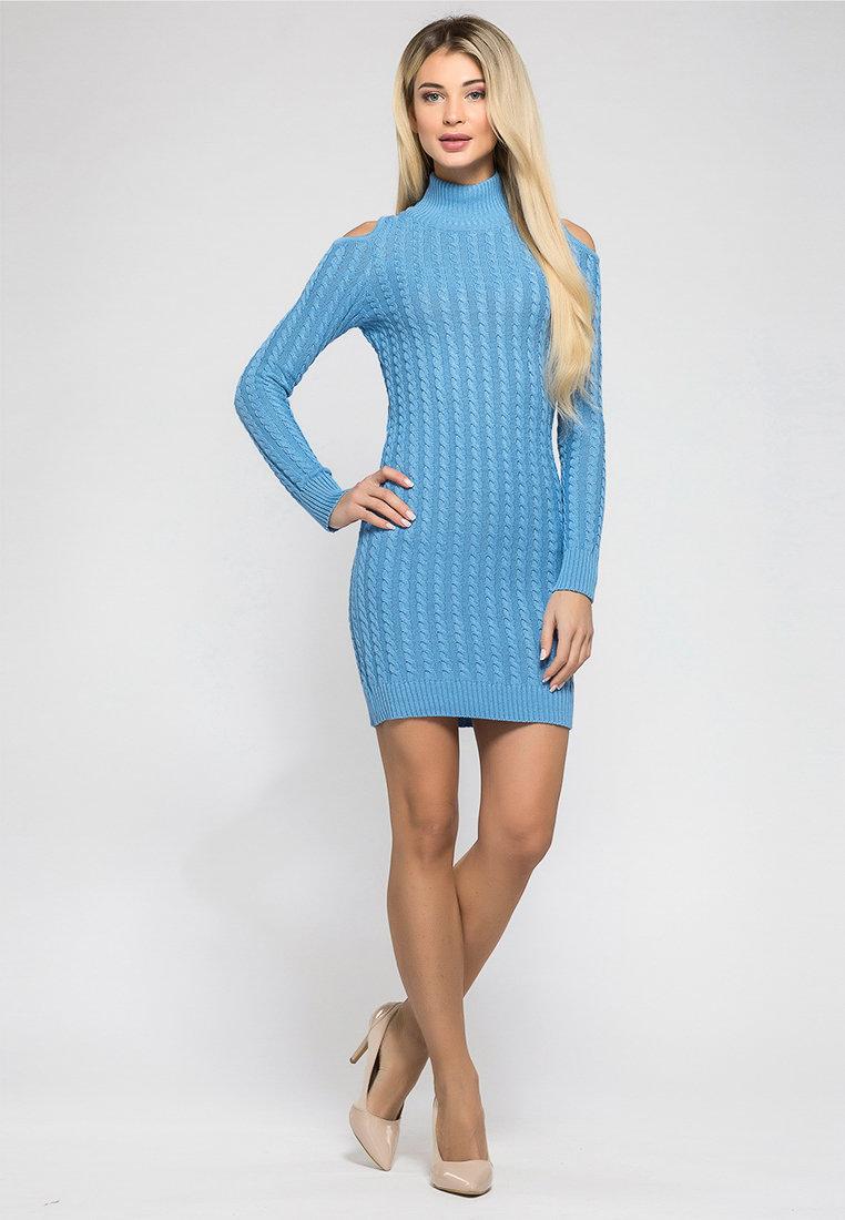 вязаное платье голубое фото