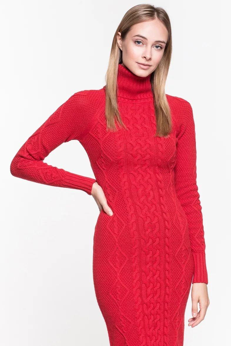 вязаное платье красное фото