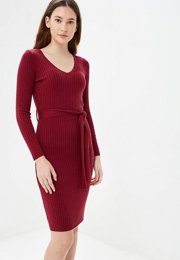 вязаное платье бордовое фото