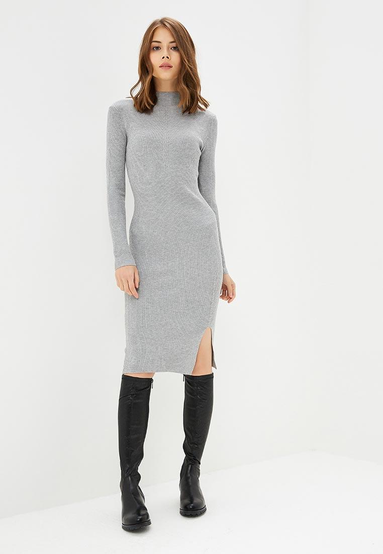 вязаное платье серое фото