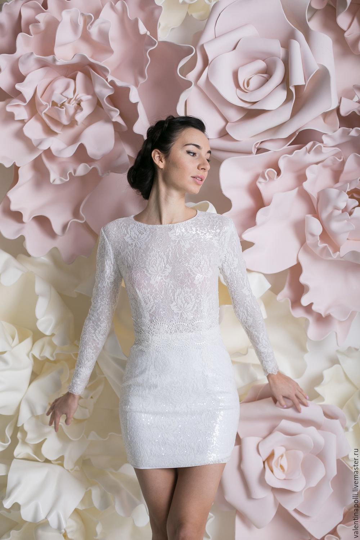 платье с пайетками свадебное короткое