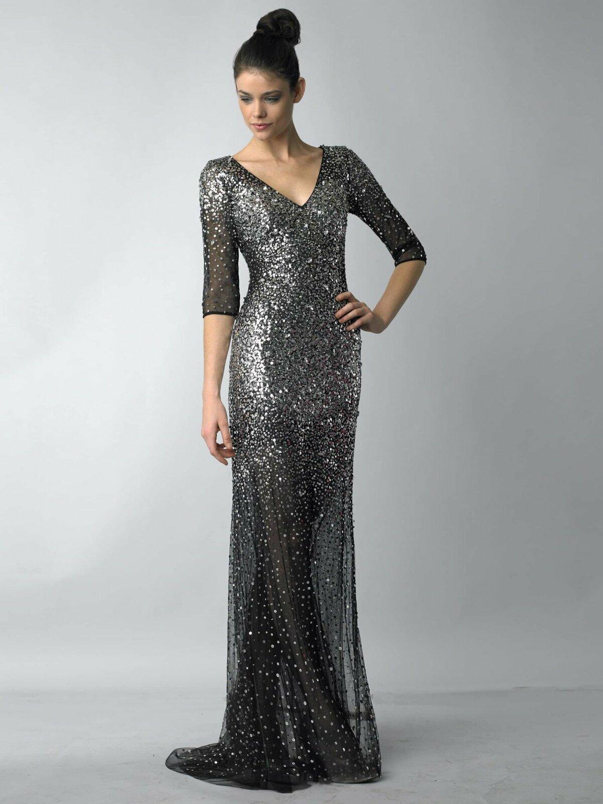 платье с пайетками длинное