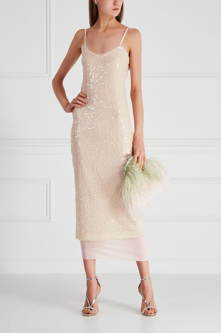 платье с пайетками миди нюдовое