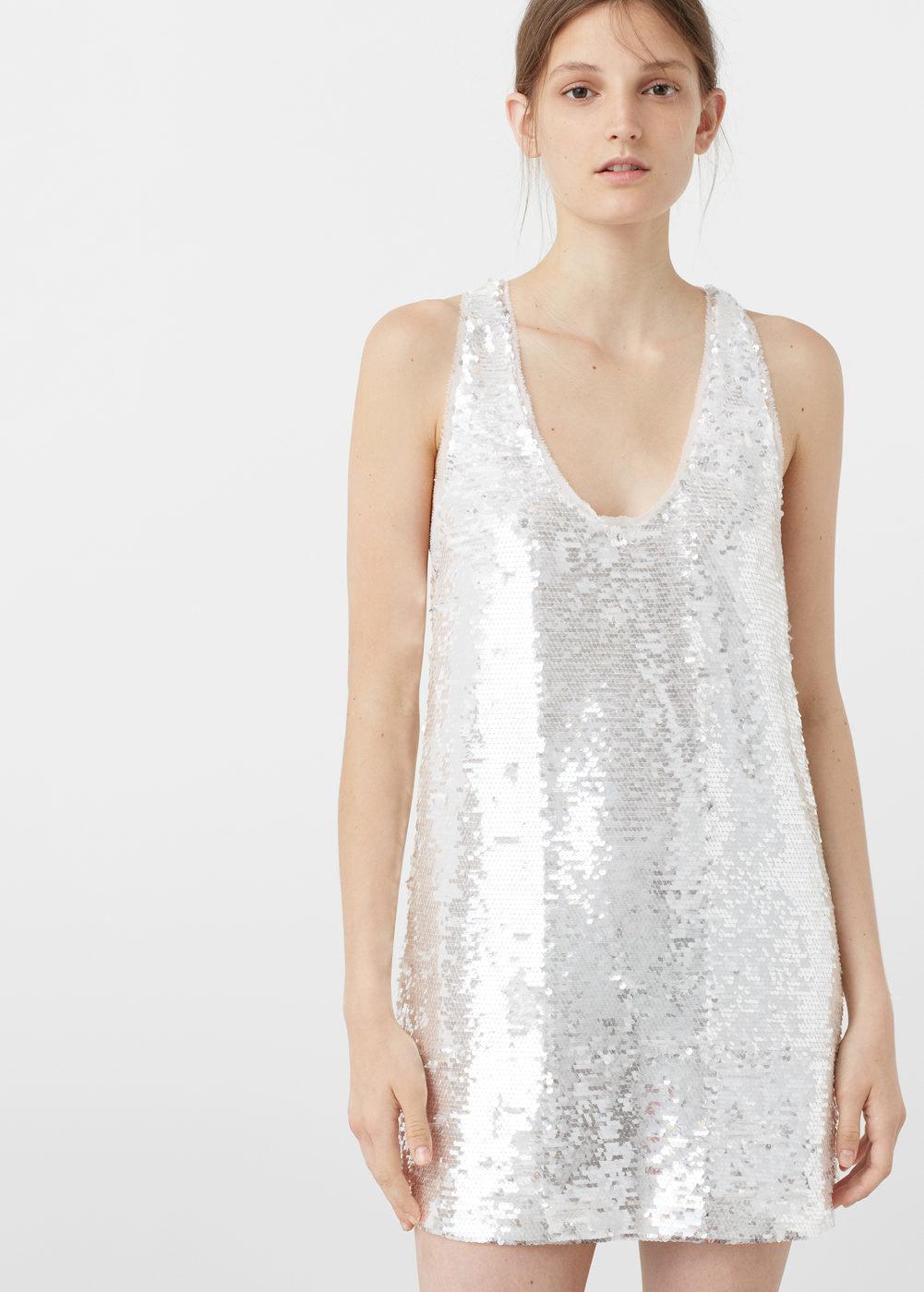 платье с пайетками цвет белый