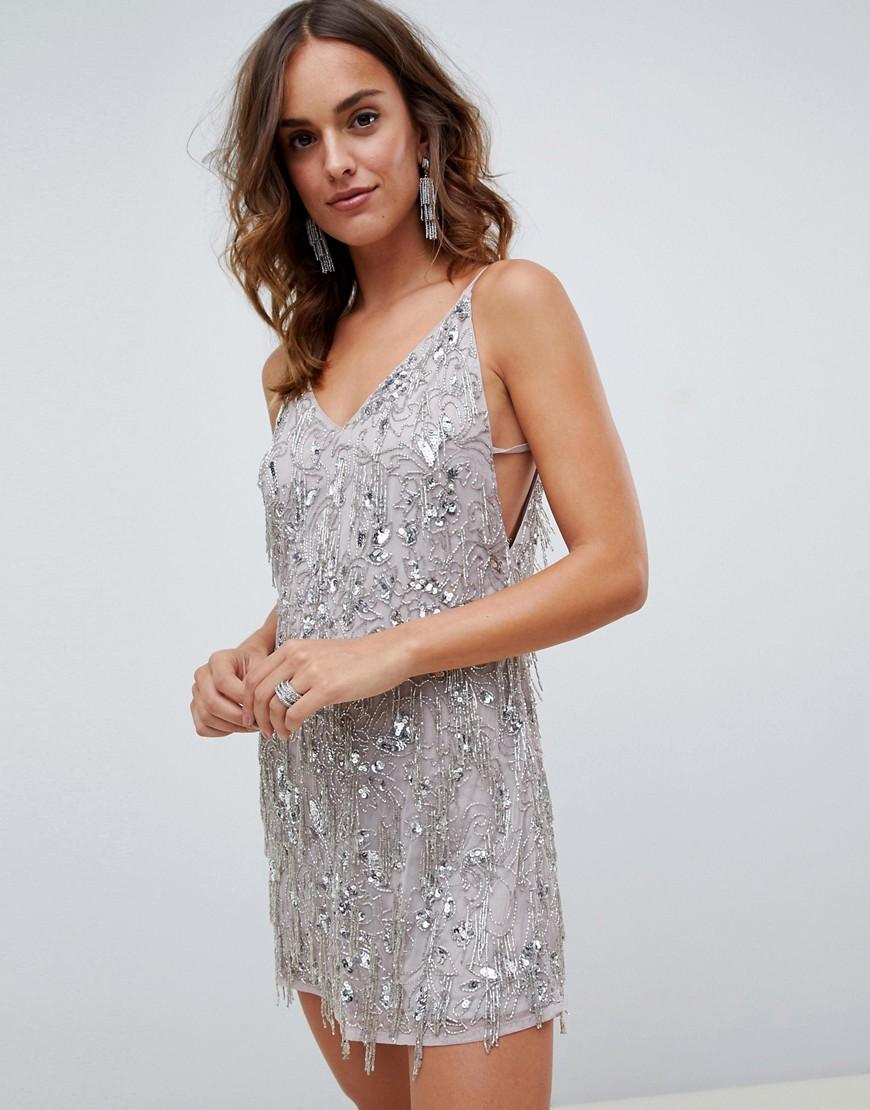 платье с пайетками цвет серый