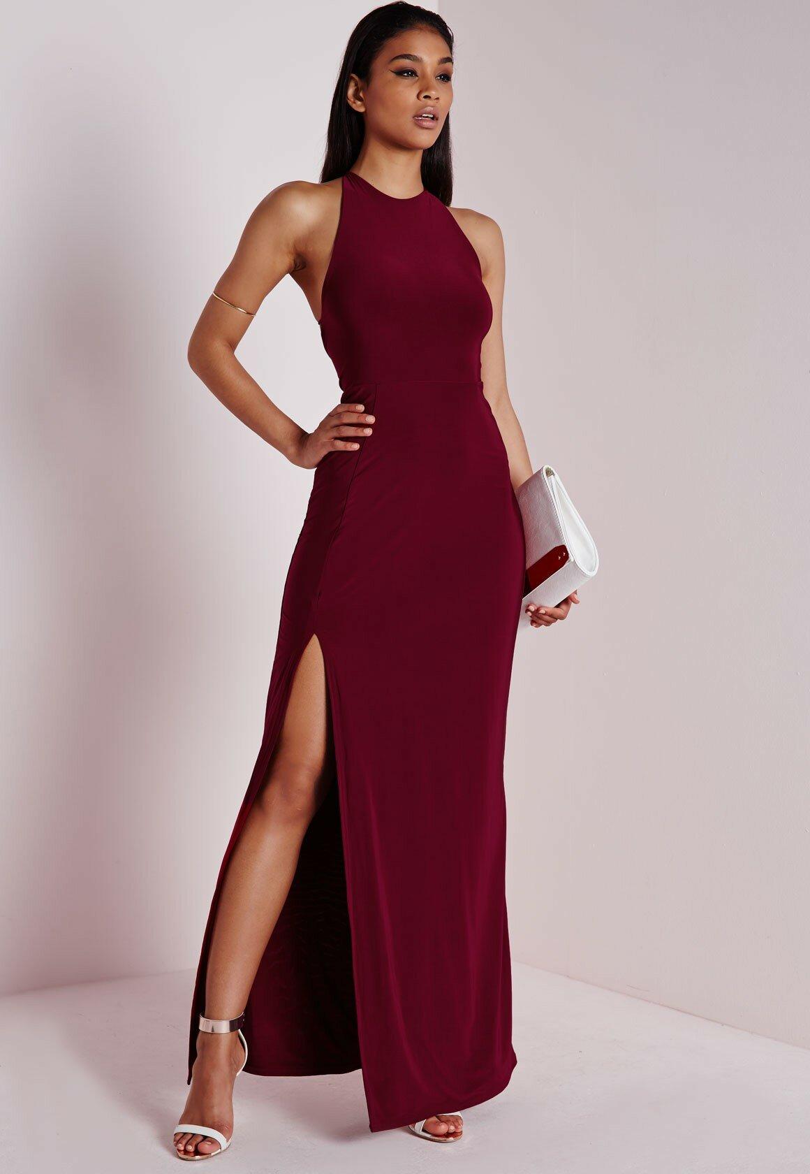 платье с вырезом по ноге