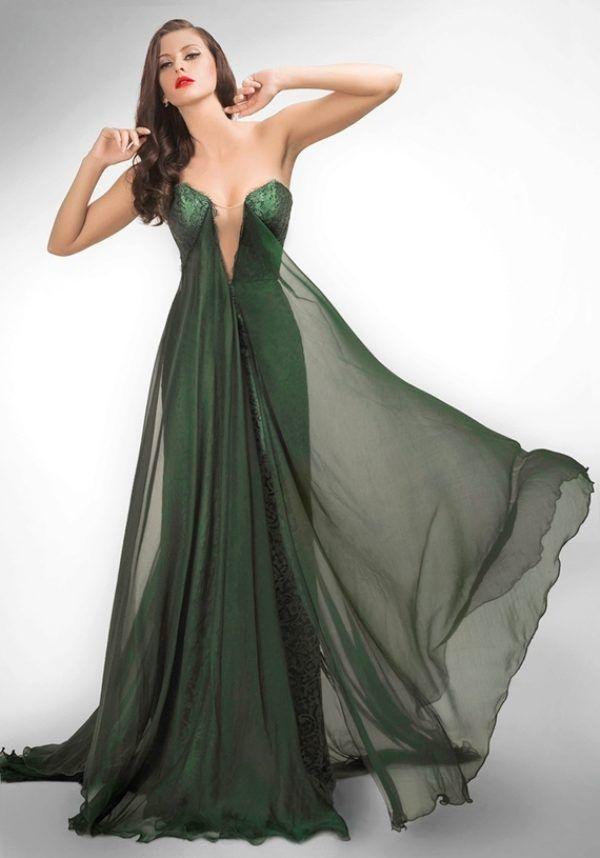 платье с вырезом вечернее зеленое