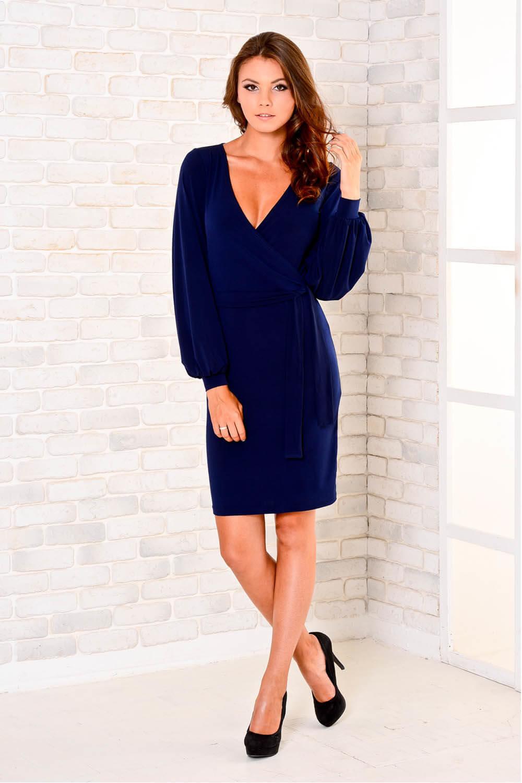 платье синее с v образным вырезом
