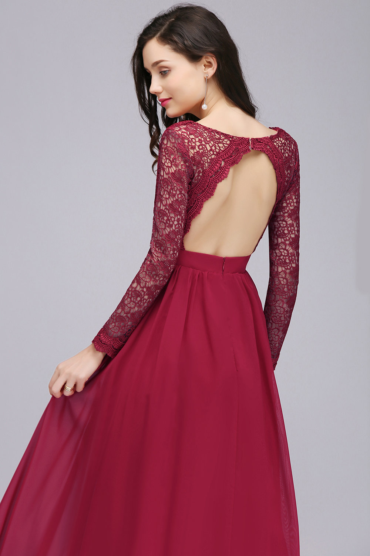 платье с открытой спиной бордовое