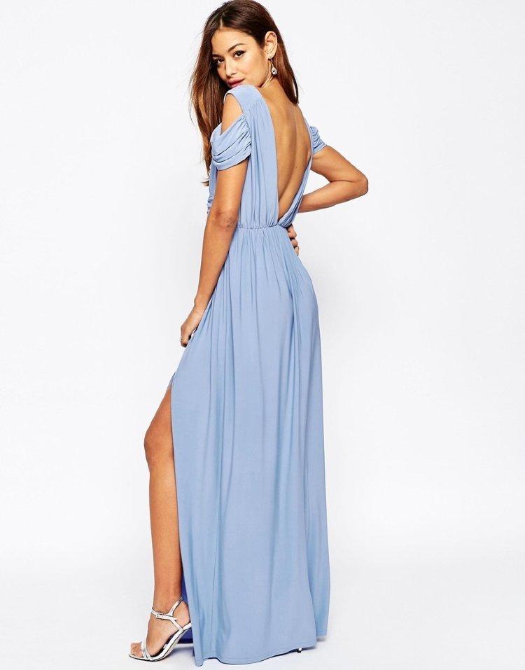 платье с открытой спиной голубое