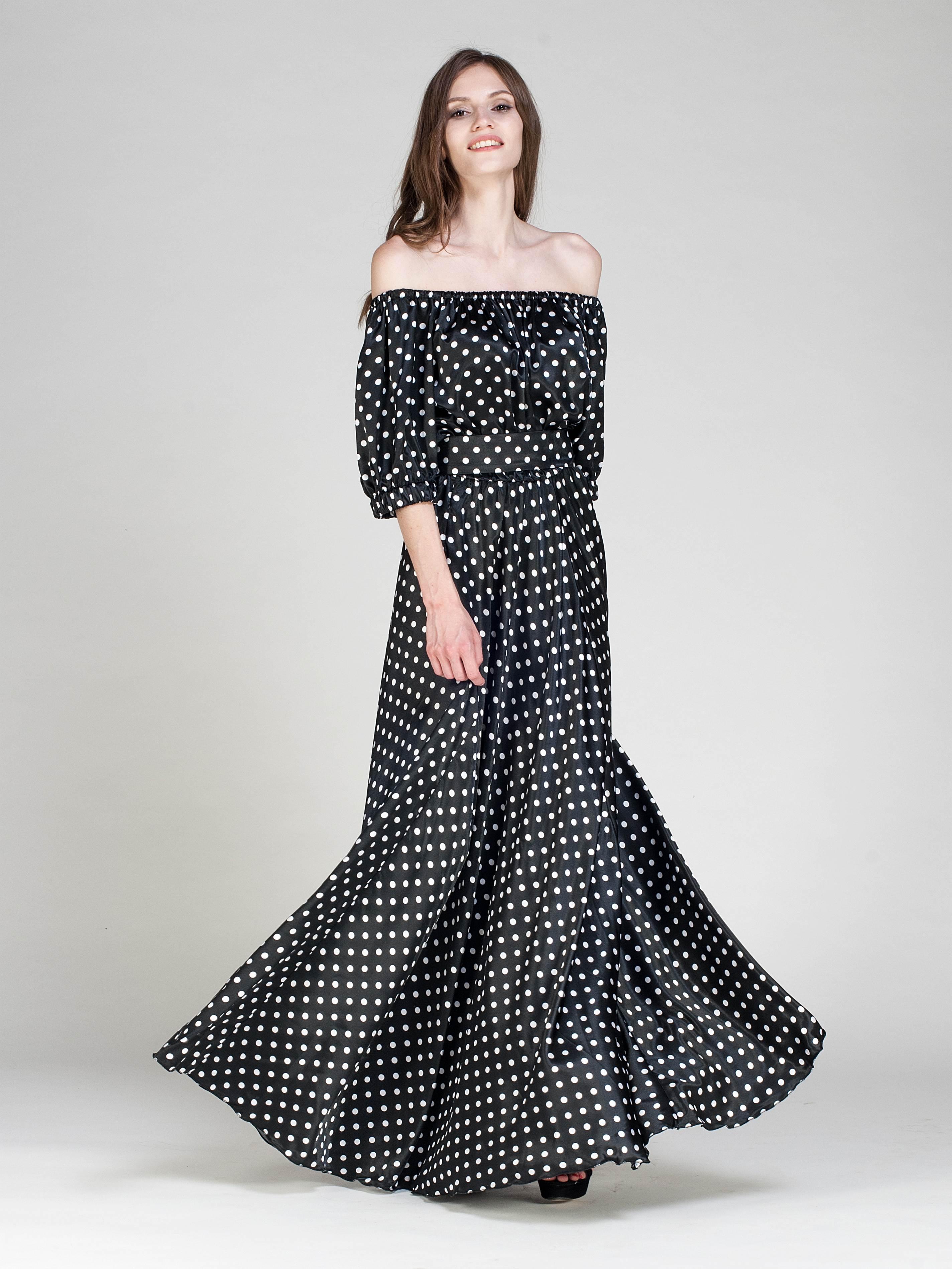 длинные вечерние платья в горошек фото