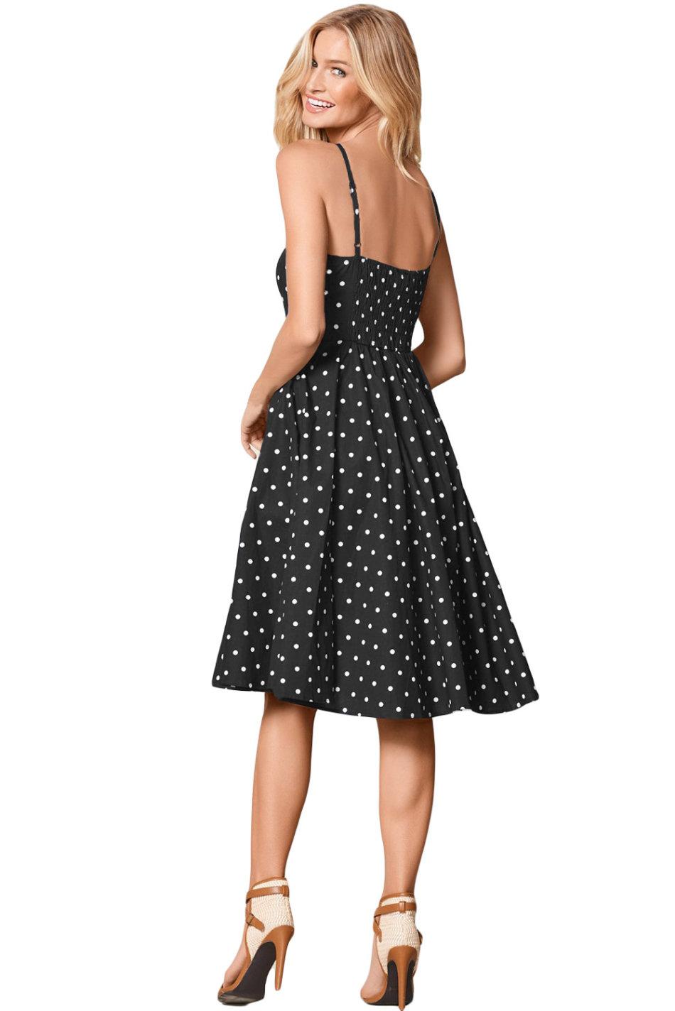 платье в горошек с пышной юбкой фото