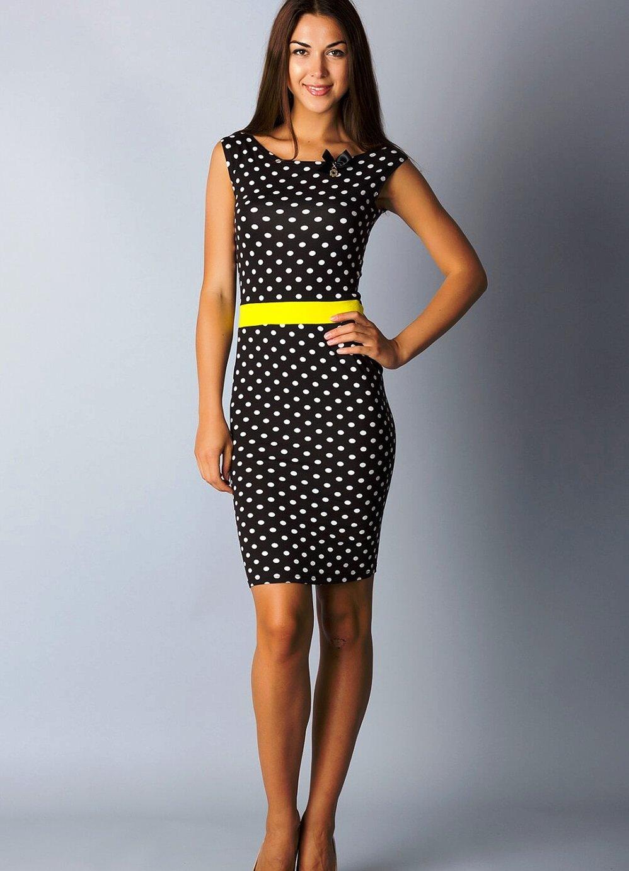 платье футляр в горошек фото