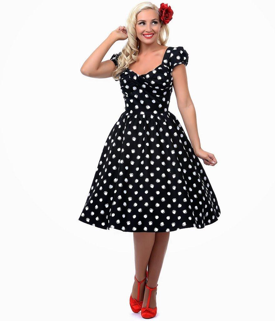 платье в горошек в стиле стиляг фото