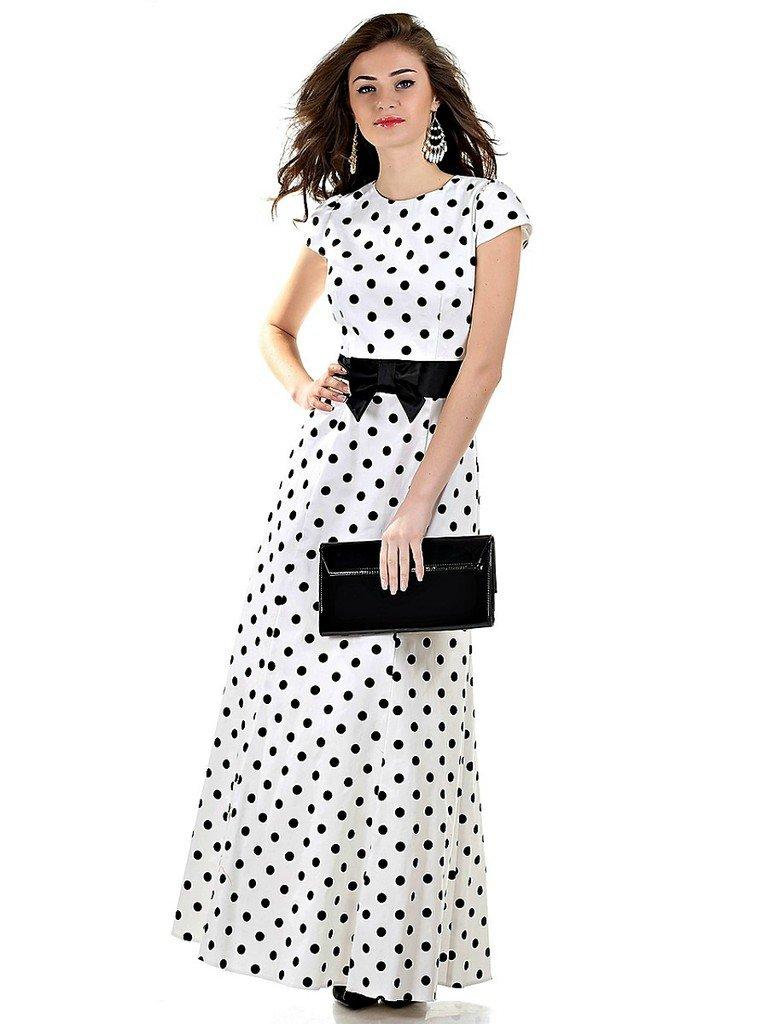 Белое платье в черный горошек фото